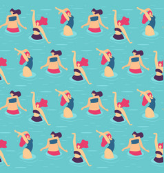 seamless flat pattern active woman pool party vector image
