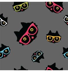 seamless pattern with cat in hipster glasses vector image vector image