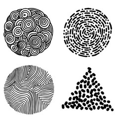 set hand drawn curly wavy doodle design vector image