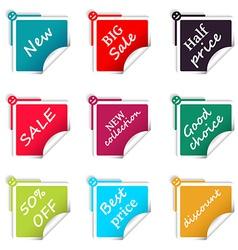 Set of sale square stickers web shop vector