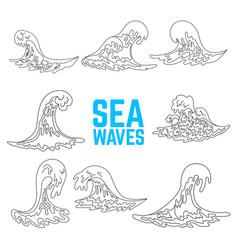 set of sea waves design elements for poster card vector image