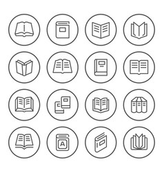 set round line icons book vector image