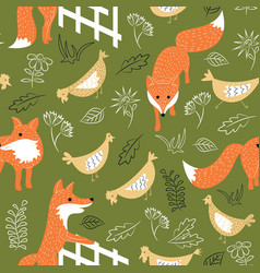 Sly foxes and chickens seamless pattern vector