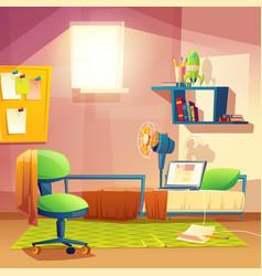 Student small room cartoon bedroom vector