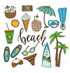 Summer doodle icons set with surfboard swimsuit vector