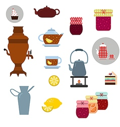 tea ceremony icons set vector image