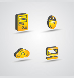 three dimensional computer technology icon set vector image