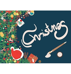 Top view christmas decoration copyspace vector