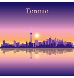 Toronto silhouette on sunset background vector