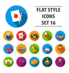 toys set icons in flat style big collection toys vector image