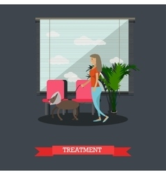 Treatment of pets in vet clinic concept flat vector