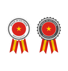 Two modern made in vietnam labels vector