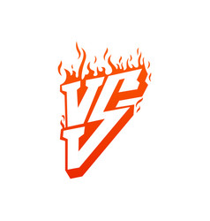Versus with fire frames and vs letters flaming vs vector