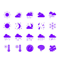 weather ultraviolet silhouette icons set vector image