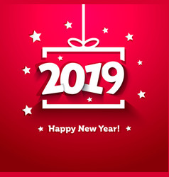 white paper gift box with 2019 new year greeting vector image