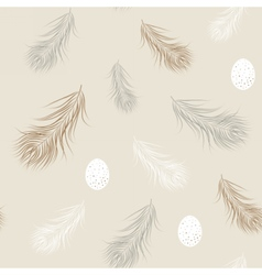 Wild eggs and feathers seamless pattern Natural vector image