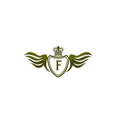 Wing shield crown initial fletter template vector