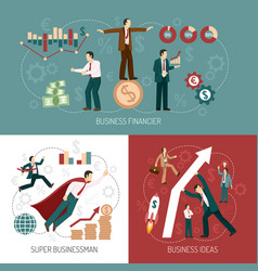 Winner businessman flat icons banner square vector