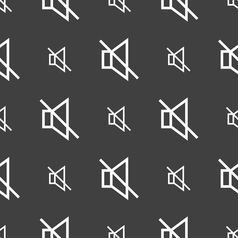 without sound mute icon sign Seamless pattern on a vector image