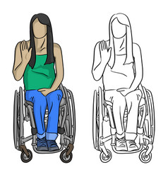 woman sitting in wheelchair with hand gesture vector image