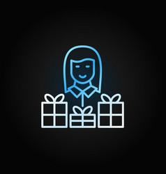 woman with gift colored line icon on dark vector image