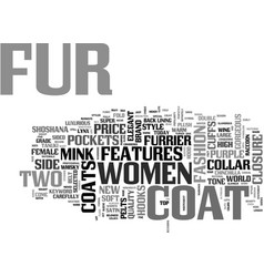 Womens fur coats text word cloud concept vector