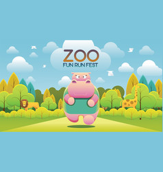 zoo run fun fest vector image