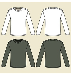 Blank long-sleeved T-shirts template vector image vector image