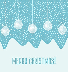 blue card with Christmas balls vector image
