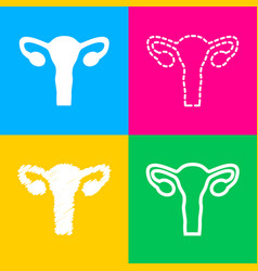 human body anatomy uterus sign four styles of vector image