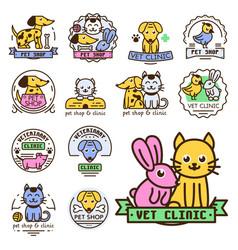 pet badge graphic sticker set domestic vector image vector image