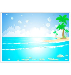 tropical landscape with ocean wave vector image