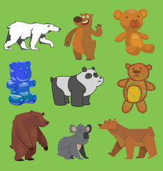 bear set wild animal different style flat vector image
