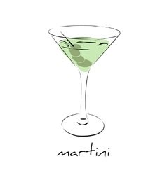 Dry martini cocktail with olives in glass Wine vector image