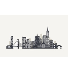 San Francisco skyline silhouette vector image