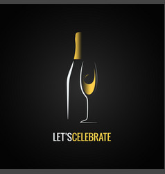 champagne glass bottle design background vector image