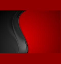 Contrast red black smooth wavy background vector