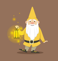 cute dwarf in a yellow jacket and hat standing vector image vector image