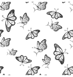 doodle butterfly pattern vector image vector image