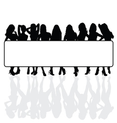 girls with empty white banner vector image