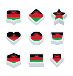 malawi flags icons and button set nine styles vector image vector image
