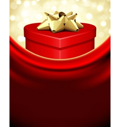 red gift heart with gold bow vector image