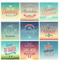 Travel set vintage vector