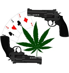 cards hemp and two pistols vector image
