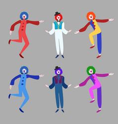 Circus funny clowns collection vector