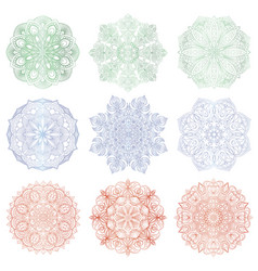 set of 9 hand-drawn arabic mandalas vector image vector image