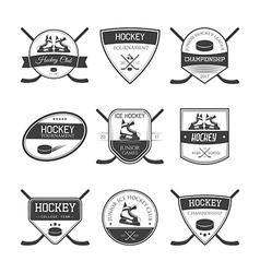 Set of ice hockey logos vector