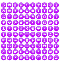 100 breakfast icons set purple vector
