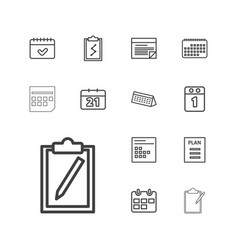 13 agenda icons vector