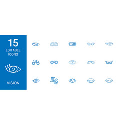 15 vision icons vector image